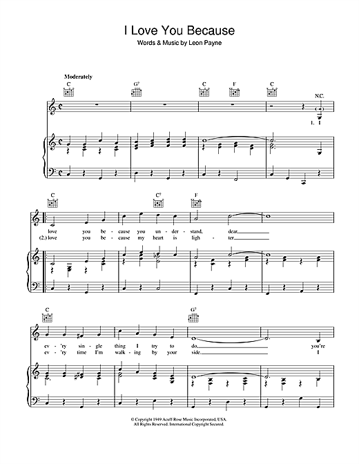 Leon Payne I Love You Because sheet music notes and chords. Download Printable PDF.
