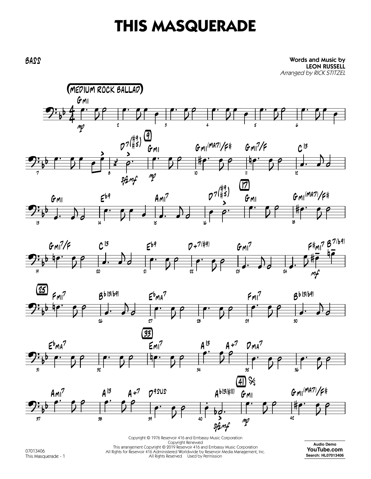 Leon Russell This Masquerade (arr. Rick Stitzel) - Bass sheet music notes and chords. Download Printable PDF.