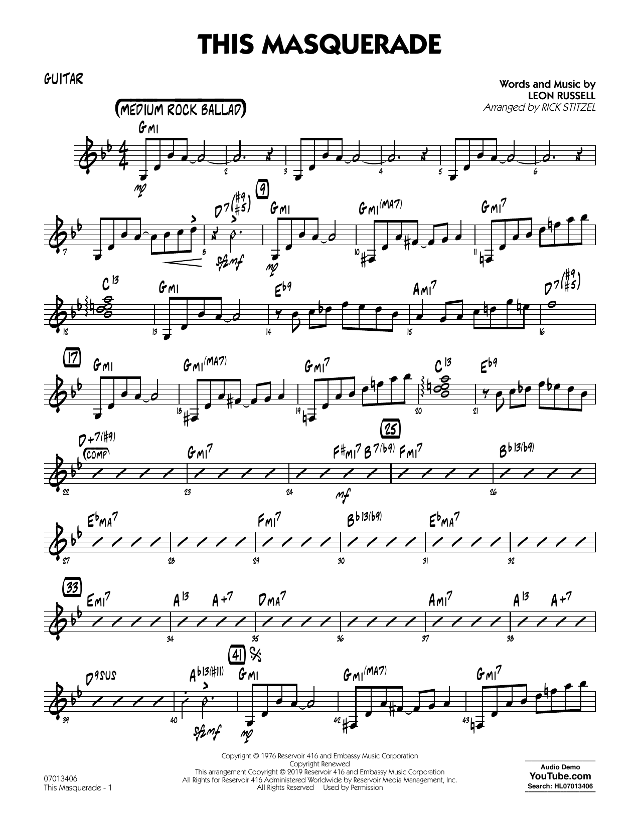 Leon Russell This Masquerade (arr. Rick Stitzel) - Guitar sheet music notes and chords. Download Printable PDF.
