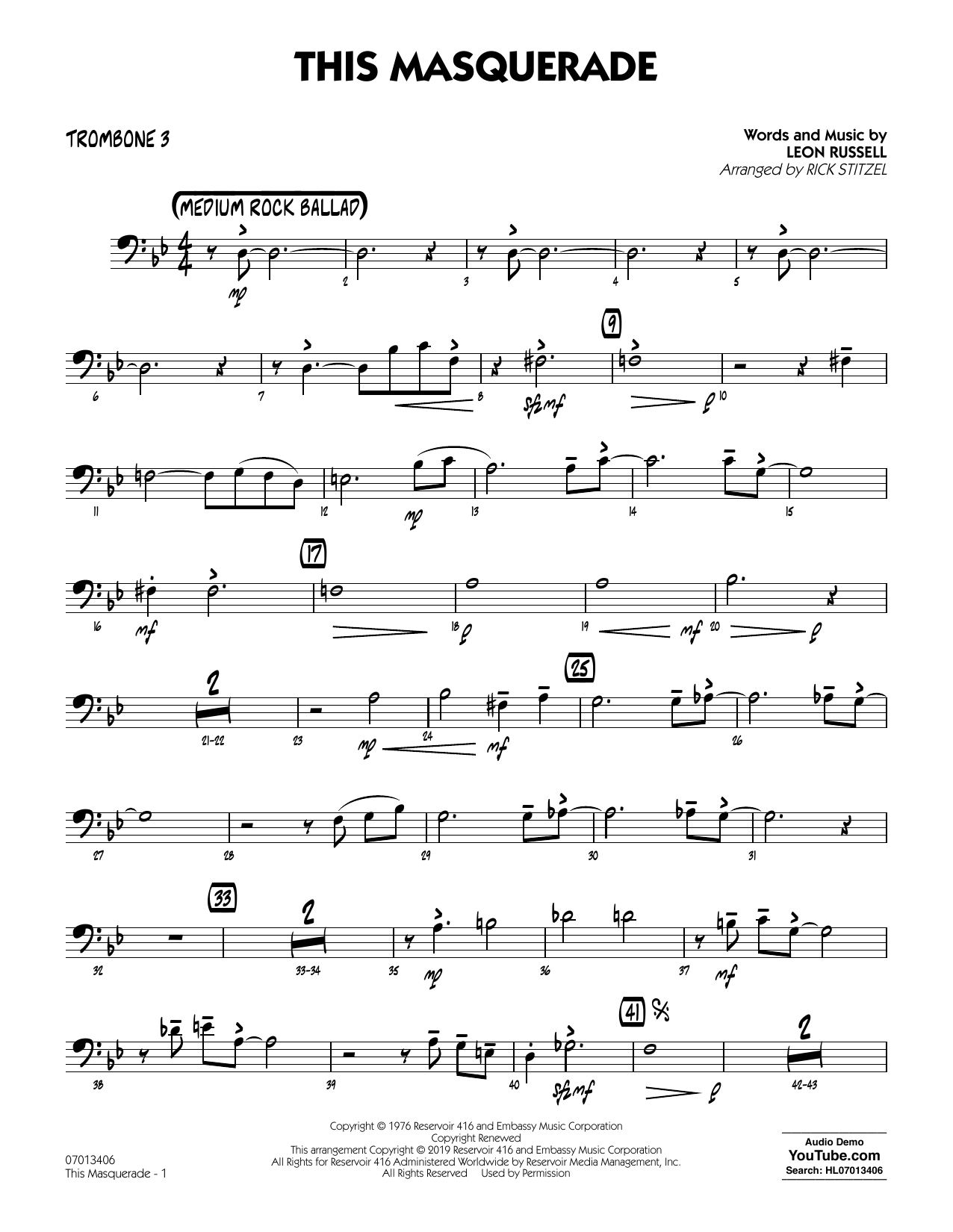 Leon Russell This Masquerade (arr. Rick Stitzel) - Trombone 3 sheet music notes and chords. Download Printable PDF.