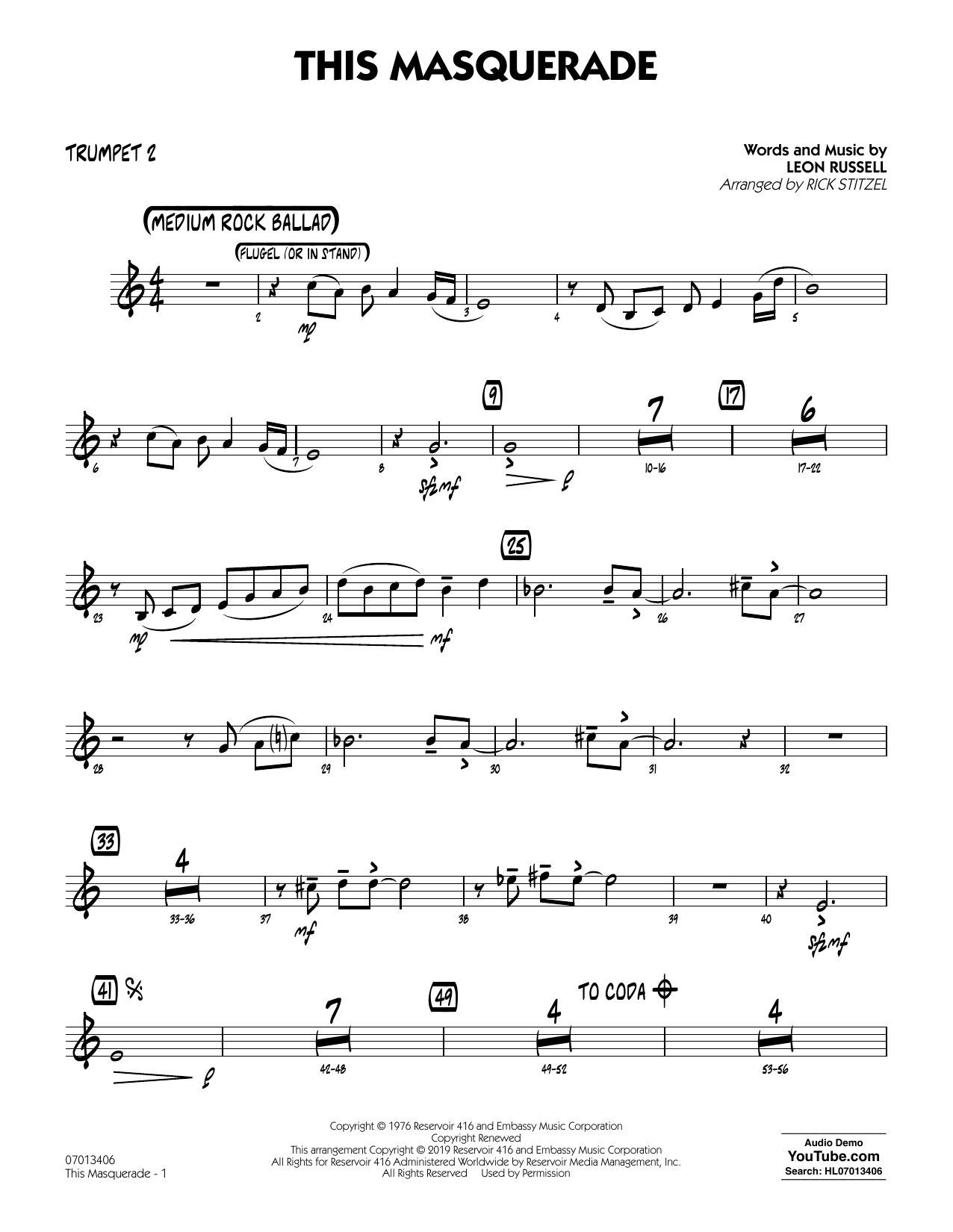 Leon Russell This Masquerade (arr. Rick Stitzel) - Trumpet 2 sheet music notes and chords. Download Printable PDF.