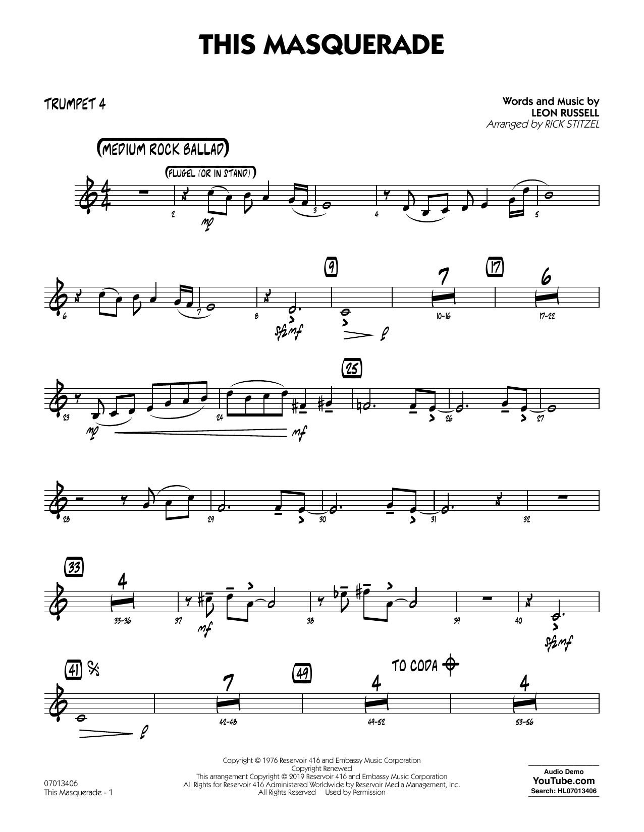 Leon Russell This Masquerade (arr. Rick Stitzel) - Trumpet 4 sheet music notes and chords. Download Printable PDF.