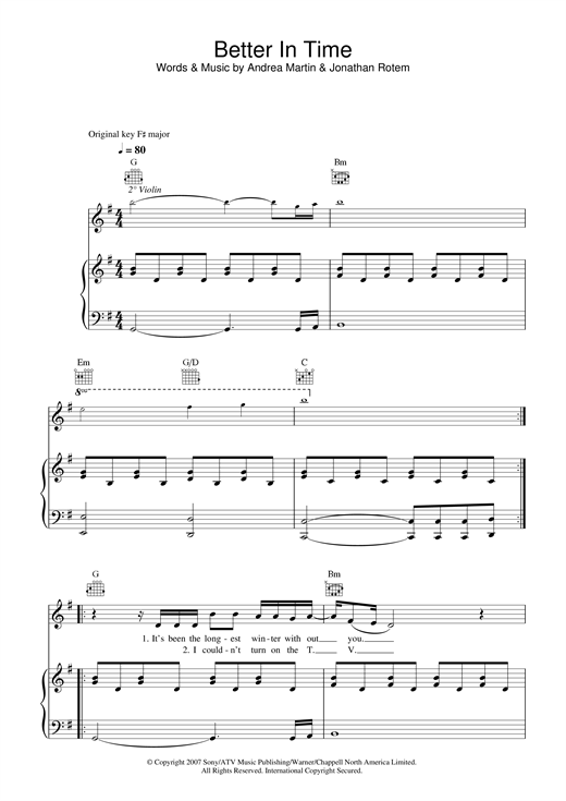 Leona Lewis Better In Time sheet music notes and chords. Download Printable PDF.