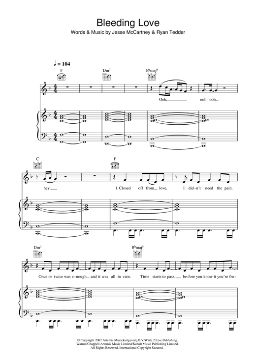 Leona Lewis Bleeding Love sheet music notes and chords