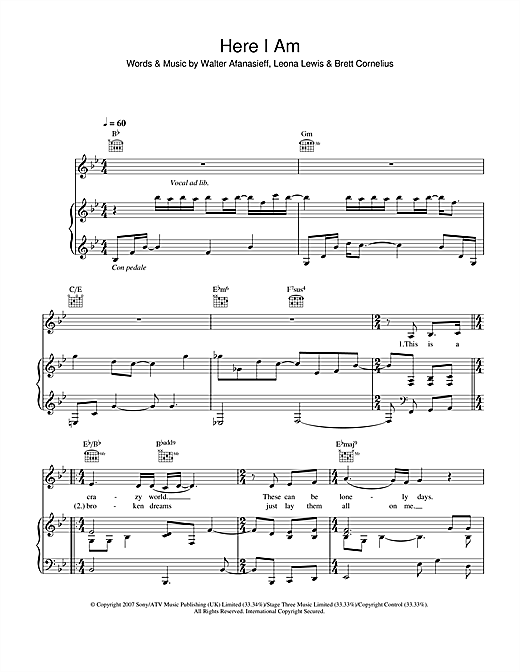 Leona Lewis Here I Am sheet music notes and chords. Download Printable PDF.