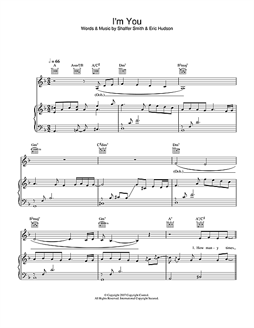 Leona Lewis I'm You sheet music notes and chords. Download Printable PDF.
