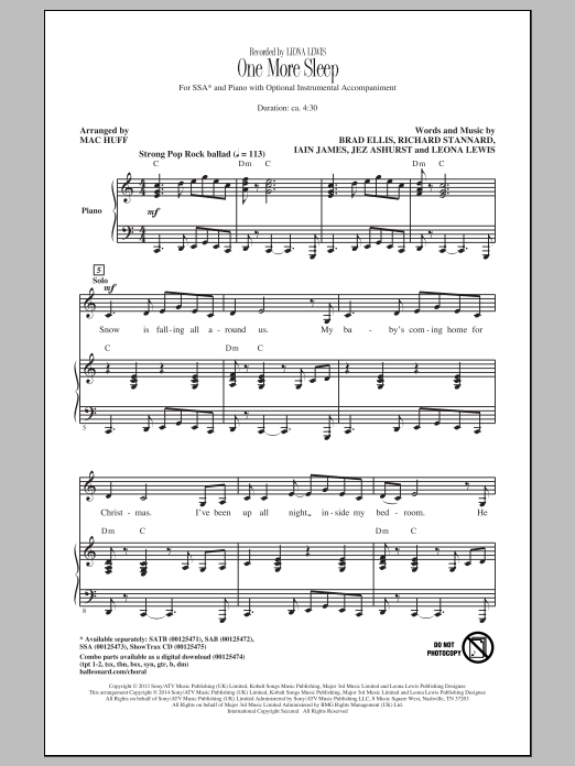 Leona Lewis One More Sleep (arr. Mac Huff) sheet music notes and chords. Download Printable PDF.