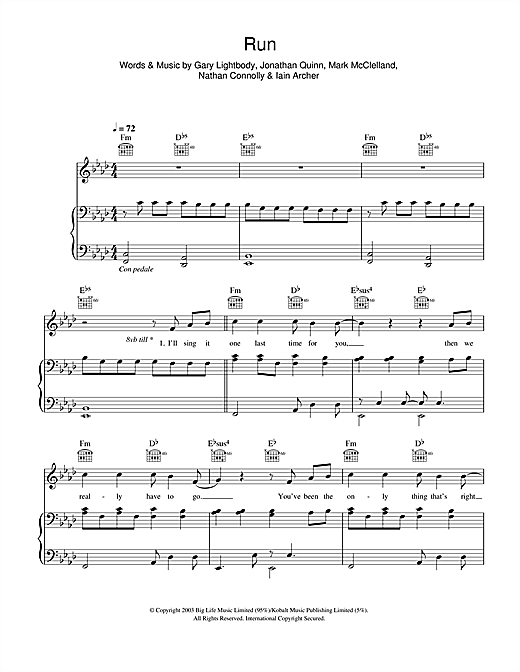 Leona Lewis Run sheet music notes and chords. Download Printable PDF.