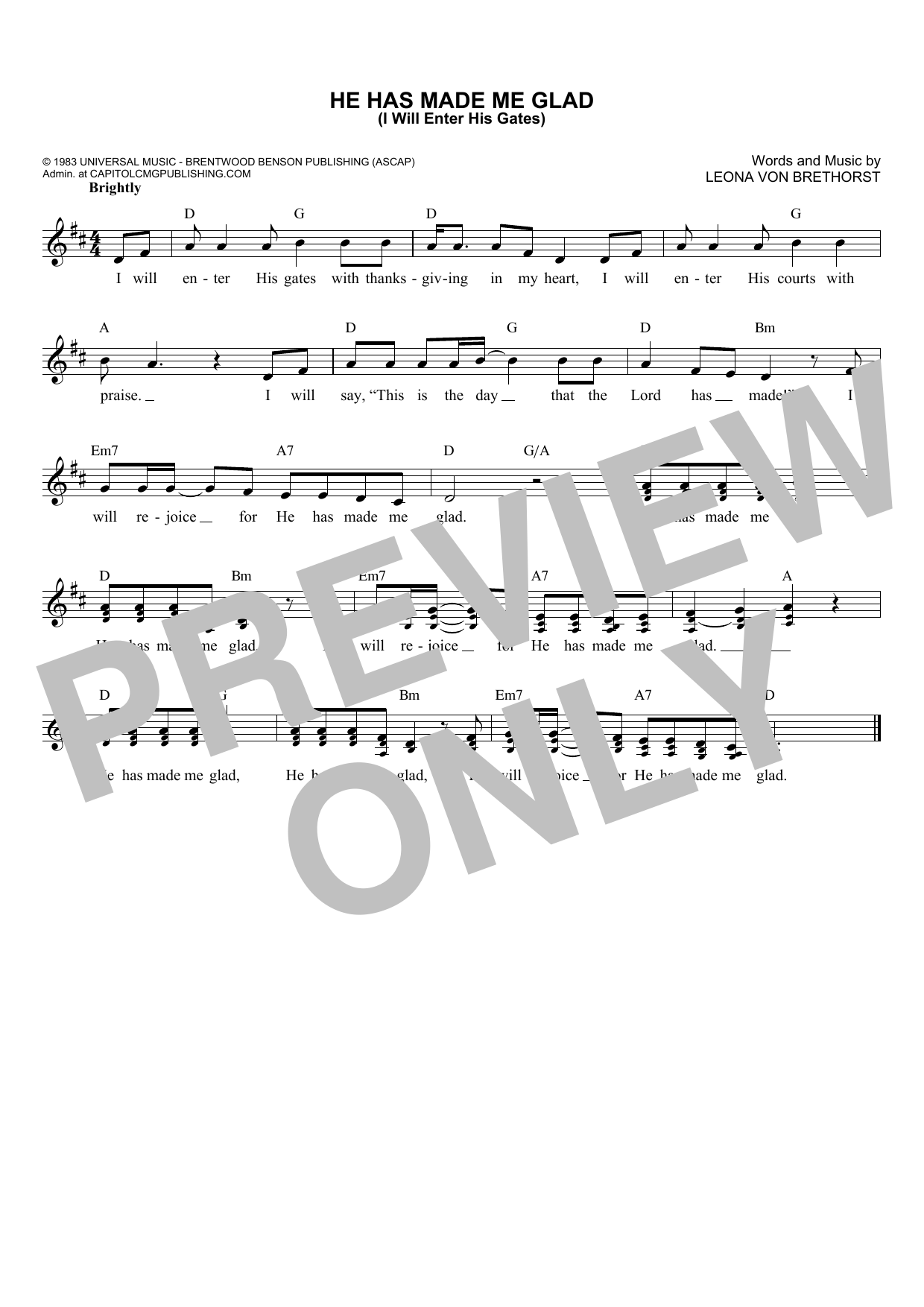 Leona Von Brethorst He Has Made Me Glad (I Will Enter His Gates) sheet music notes and chords. Download Printable PDF.