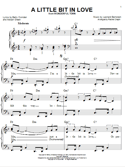 Leonard Bernstein A Little Bit In Love sheet music notes and chords. Download Printable PDF.