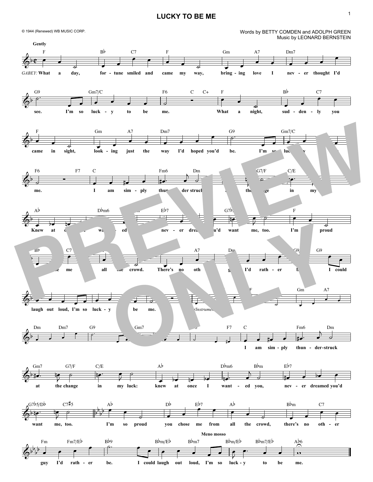 Leonard Bernstein Lucky To Be Me (from On the Town) sheet music notes and chords. Download Printable PDF.