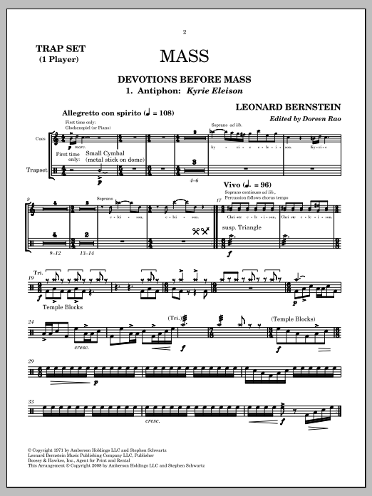 Leonard Bernstein Mass sheet music notes and chords. Download Printable PDF.