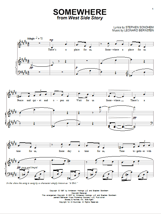 Pet Shop Boys Somewhere (from West Side Story) sheet music notes and chords. Download Printable PDF.