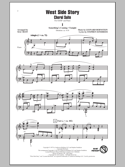 Leonard Bernstein West Side Story (Choral Suite) (arr. Mac Huff) sheet music notes and chords. Download Printable PDF.
