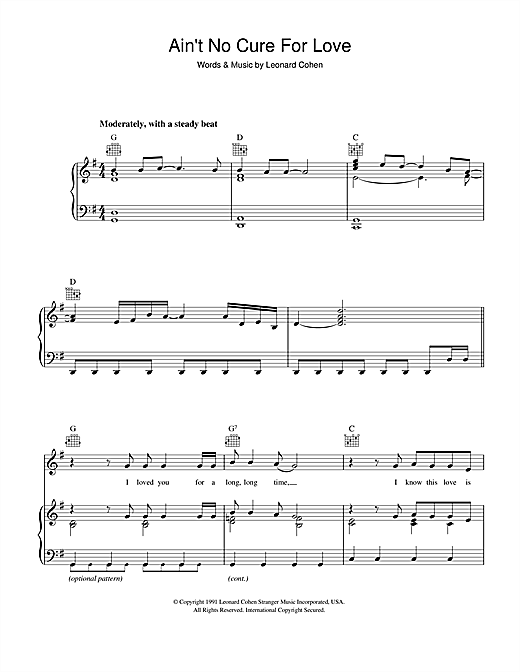 Leonard Cohen Ain't No Cure For Love sheet music notes and chords. Download Printable PDF.