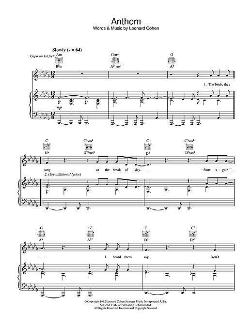 Leonard Cohen Anthem sheet music notes and chords. Download Printable PDF.