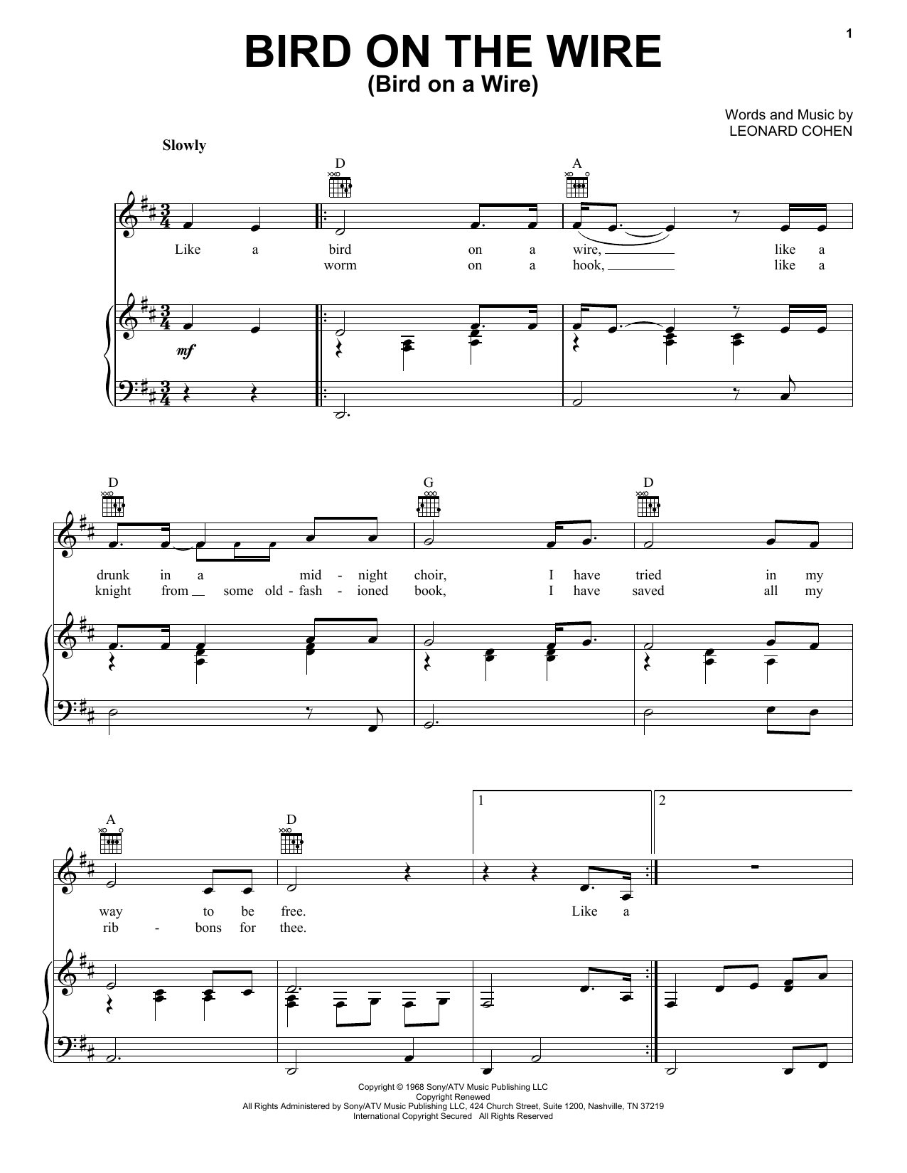 Leonard Cohen Bird On The Wire (Bird On A Wire) sheet music notes and chords. Download Printable PDF.
