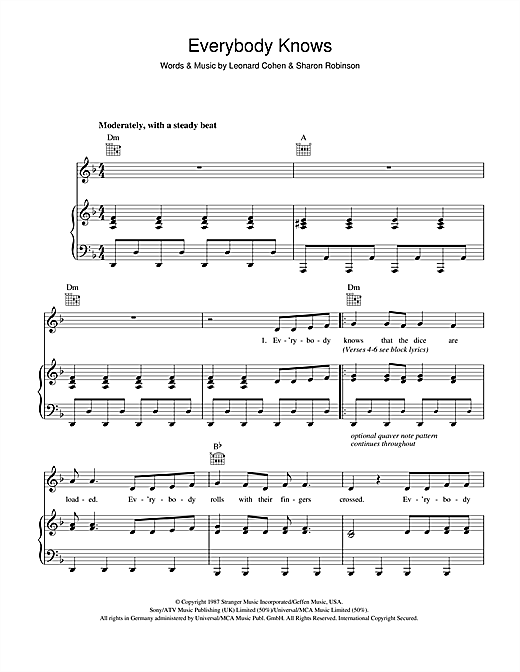 Leonard Cohen Everybody Knows sheet music notes and chords. Download Printable PDF.