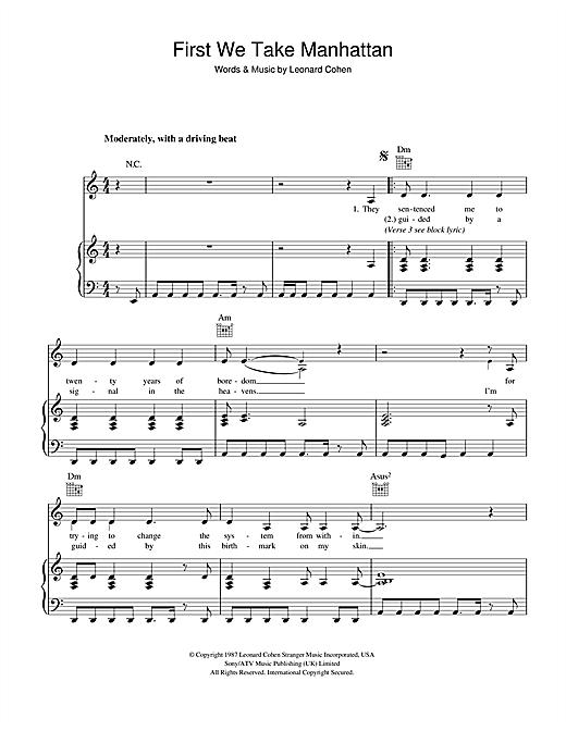 Leonard Cohen First We Take Manhattan sheet music notes and chords