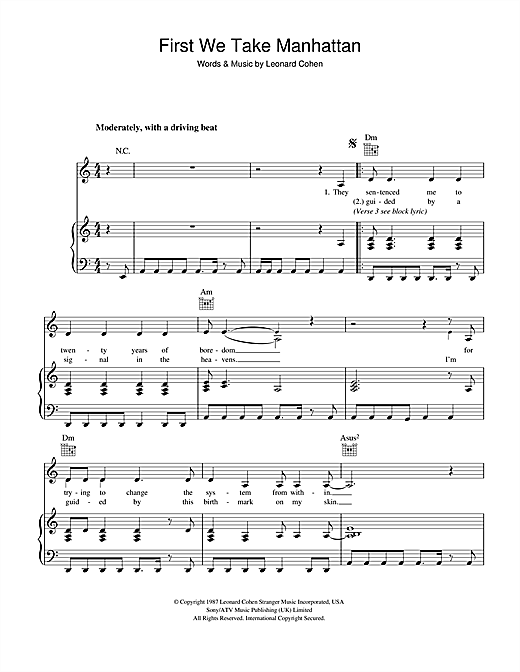 Leonard Cohen First We Take Manhattan sheet music notes and chords. Download Printable PDF.