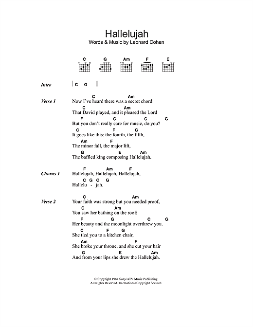 Leonard Cohen Hallelujah sheet music notes and chords. Download Printable PDF.