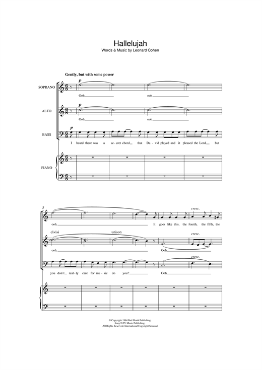 Leonard Cohen Hallelujah (arr. Jonathan Wikeley) sheet music notes and chords. Download Printable PDF.
