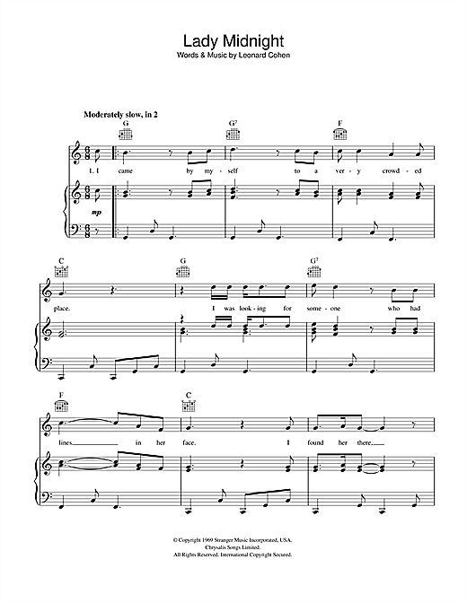 Leonard Cohen Lady Midnight sheet music notes and chords. Download Printable PDF.