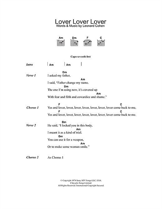 Leonard Cohen Lover Lover Lover sheet music notes and chords. Download Printable PDF.