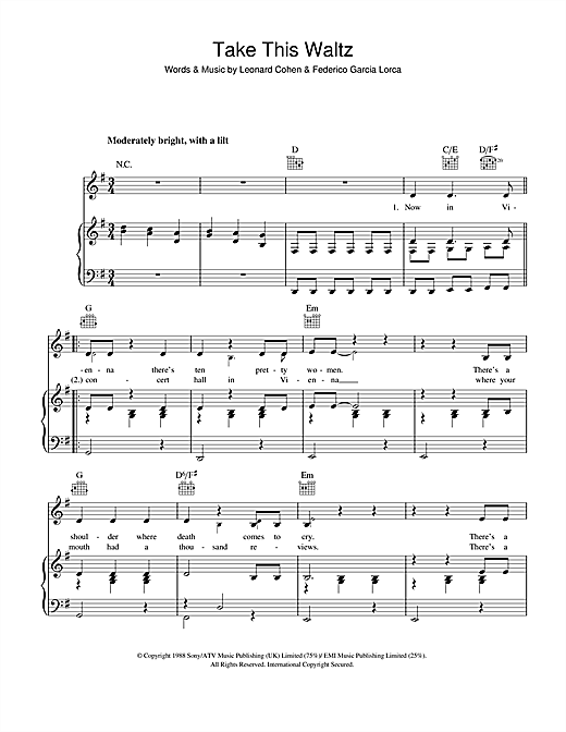 Leonard Cohen Take This Waltz sheet music notes and chords
