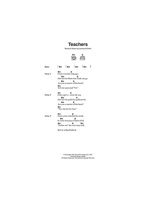 Leonard Cohen Teachers sheet music notes and chords. Download Printable PDF.