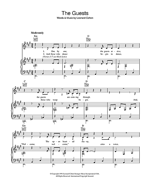 Leonard Cohen The Guests sheet music notes and chords. Download Printable PDF.