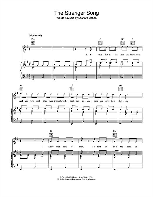 Leonard Cohen The Stranger Song sheet music notes and chords. Download Printable PDF.