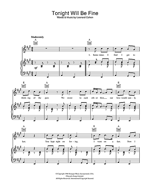 Leonard Cohen Tonight Will Be Fine sheet music notes and chords. Download Printable PDF.