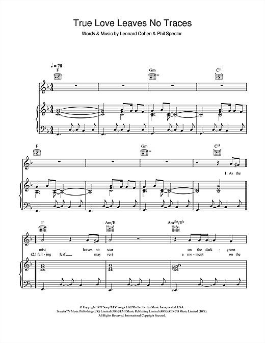 Leonard Cohen True Love Leaves No Traces sheet music notes and chords. Download Printable PDF.
