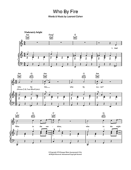 Leonard Cohen Who By Fire sheet music notes and chords. Download Printable PDF.