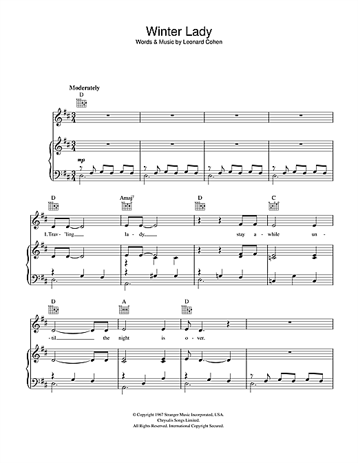 Leonard Cohen Winter Lady sheet music notes and chords. Download Printable PDF.