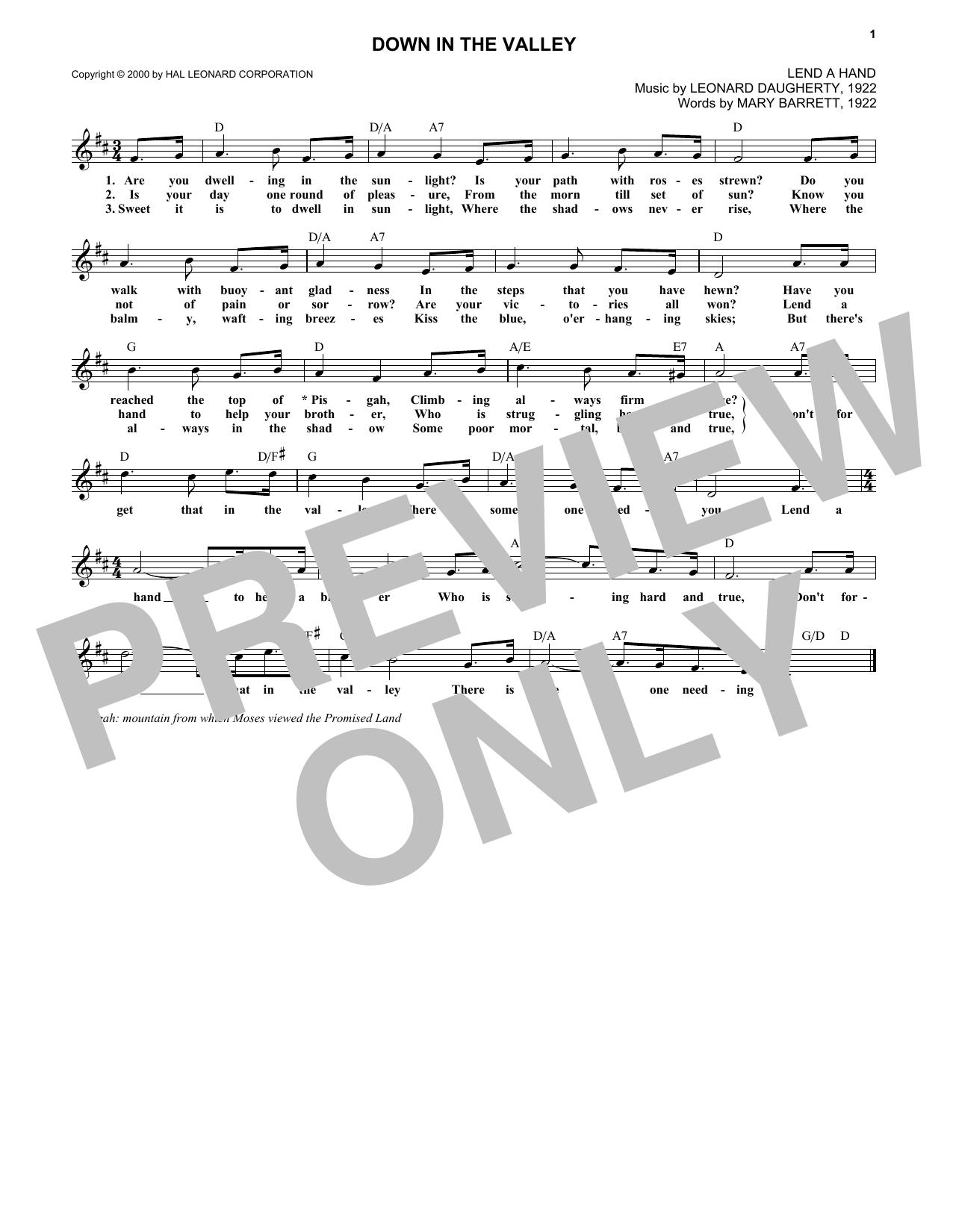 Leonard Daugherty Down In The Valley Sheet Music Notes, Chords   Download  Printable Lead Sheet / Fake Book PDF Score   SKU 15