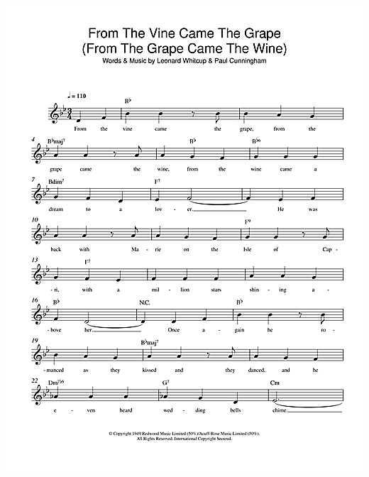 Leonard Whitcup From The Vine Came The Grape (From The Grape Came The Wine) sheet music notes and chords. Download Printable PDF.