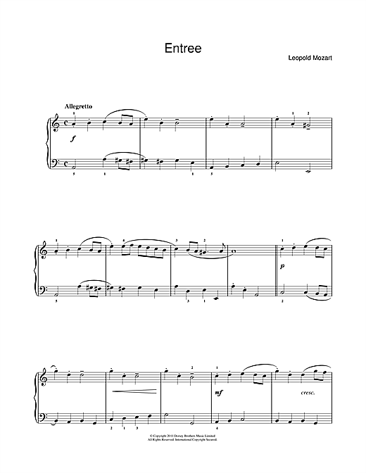 Leopold Mozart Entrée sheet music notes and chords. Download Printable PDF.
