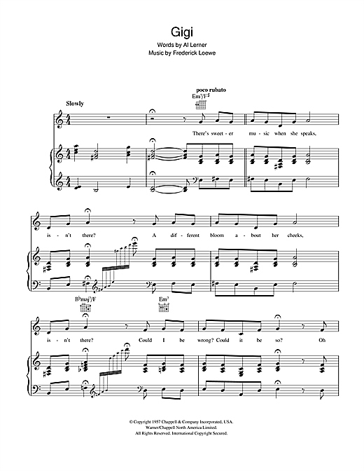 Lerner & Loewe Gigi sheet music notes and chords