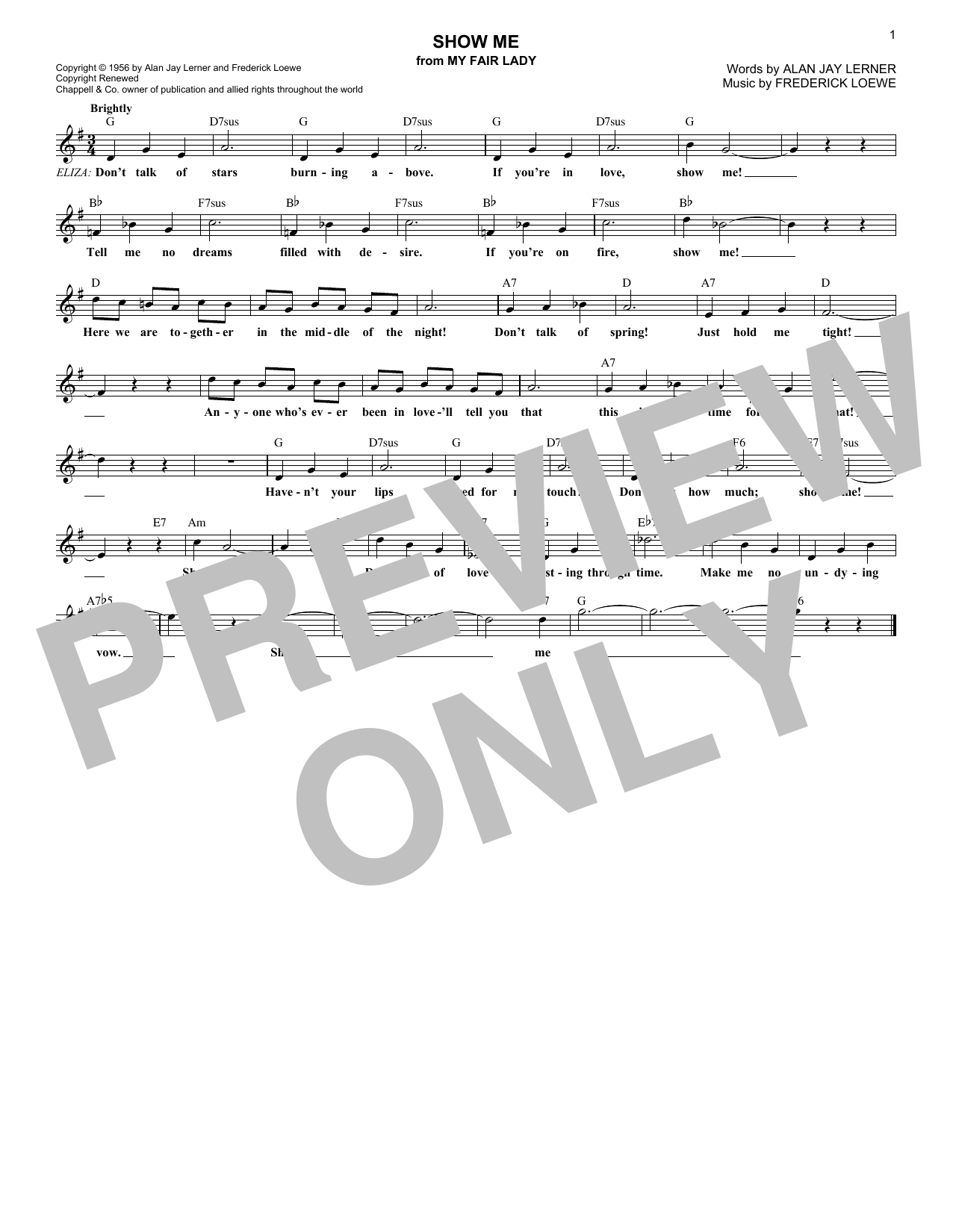 Lerner & Loewe Show Me (from My Fair Lady) sheet music notes and chords. Download Printable PDF.
