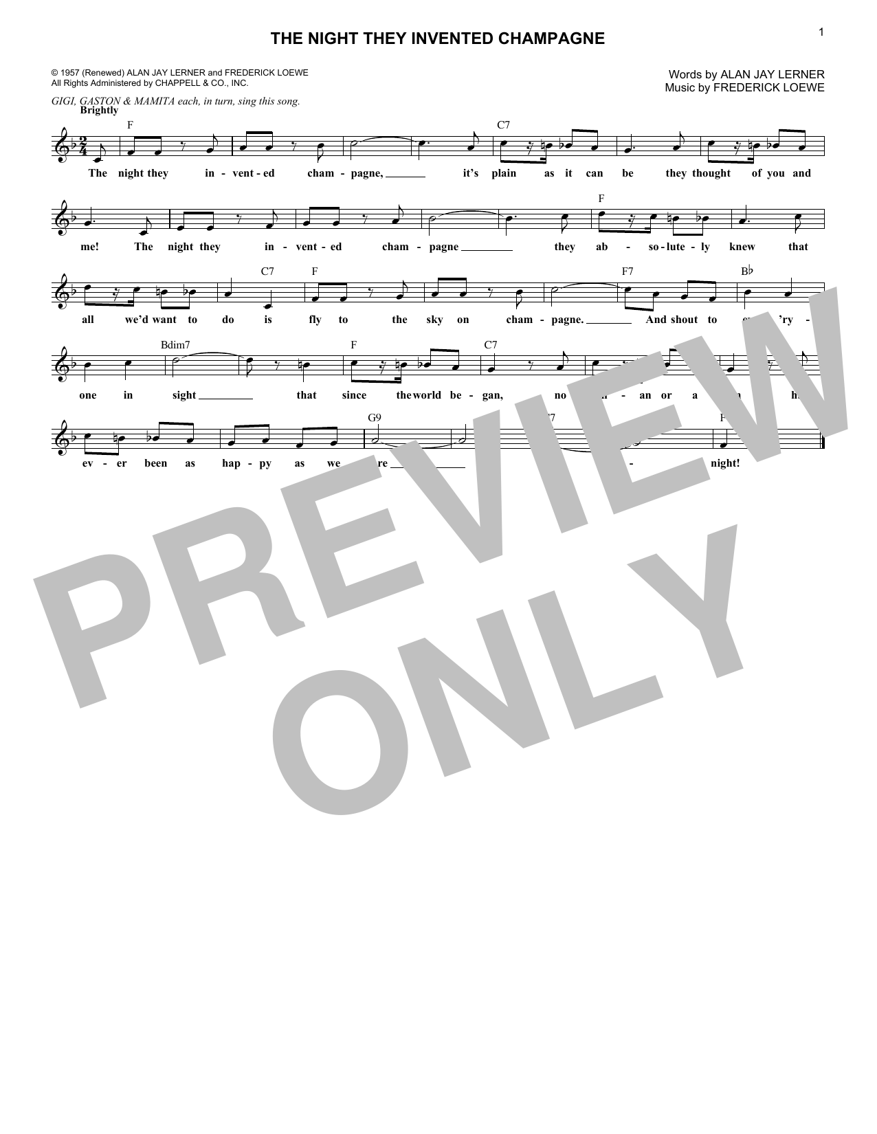 Lerner & Loewe The Night They Invented Champagne (from Gigi) sheet music notes and chords