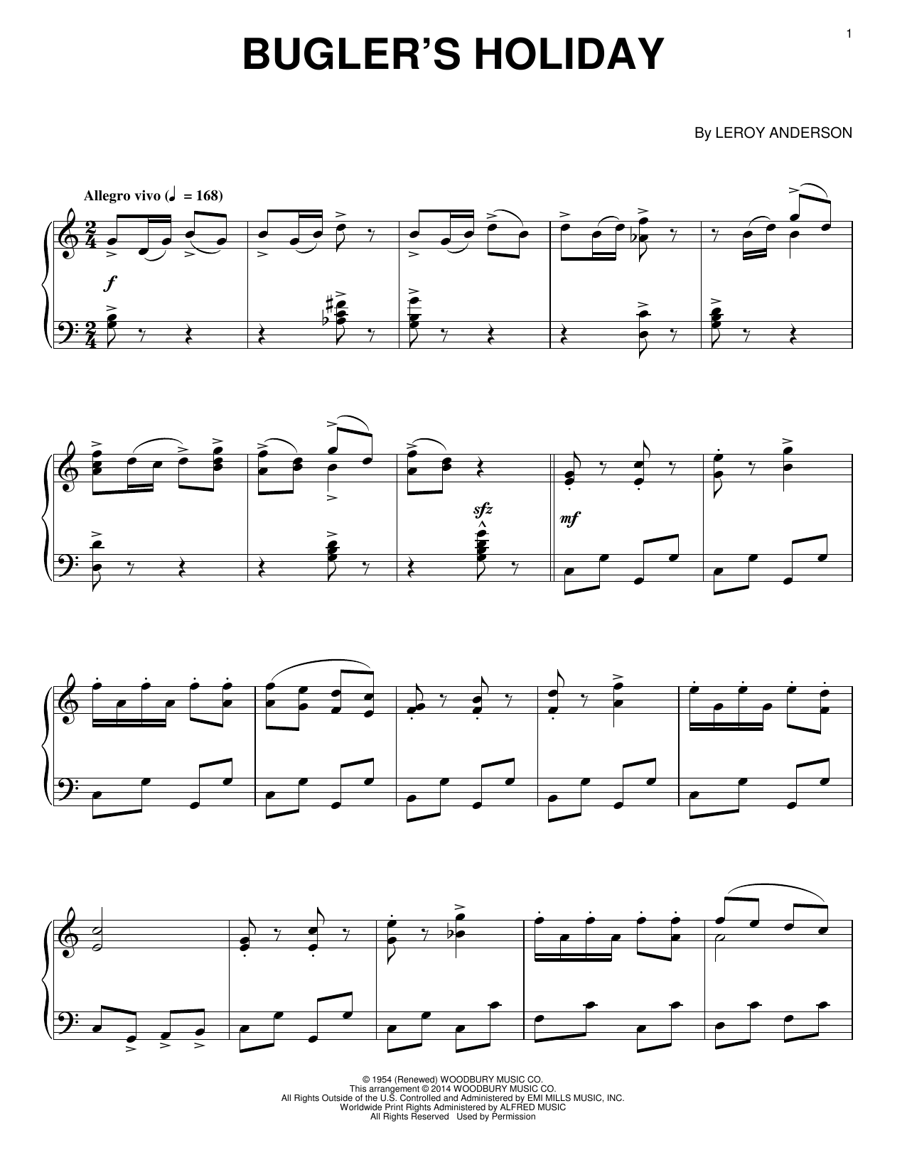 Leroy Anderson Bugler's Holiday sheet music notes and chords. Download Printable PDF.