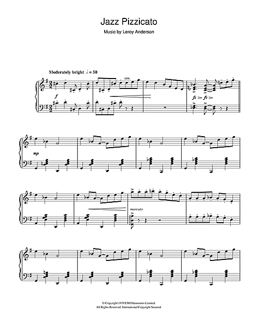 Leroy Anderson Jazz Pizzicato sheet music notes and chords