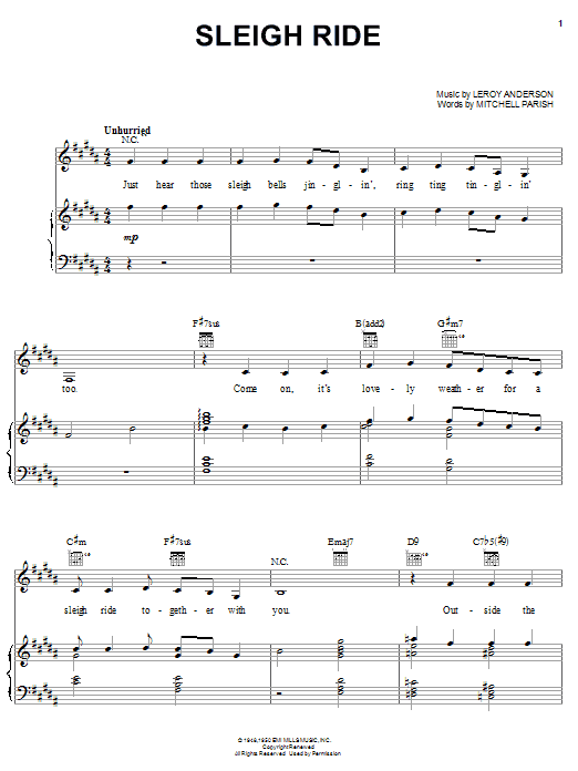 Leroy Anderson 'Sleigh Ride' Sheet Music Notes, Chords | Download Printable  Piano, Vocal & Guitar (Right-Hand Melody) - SKU: 173968