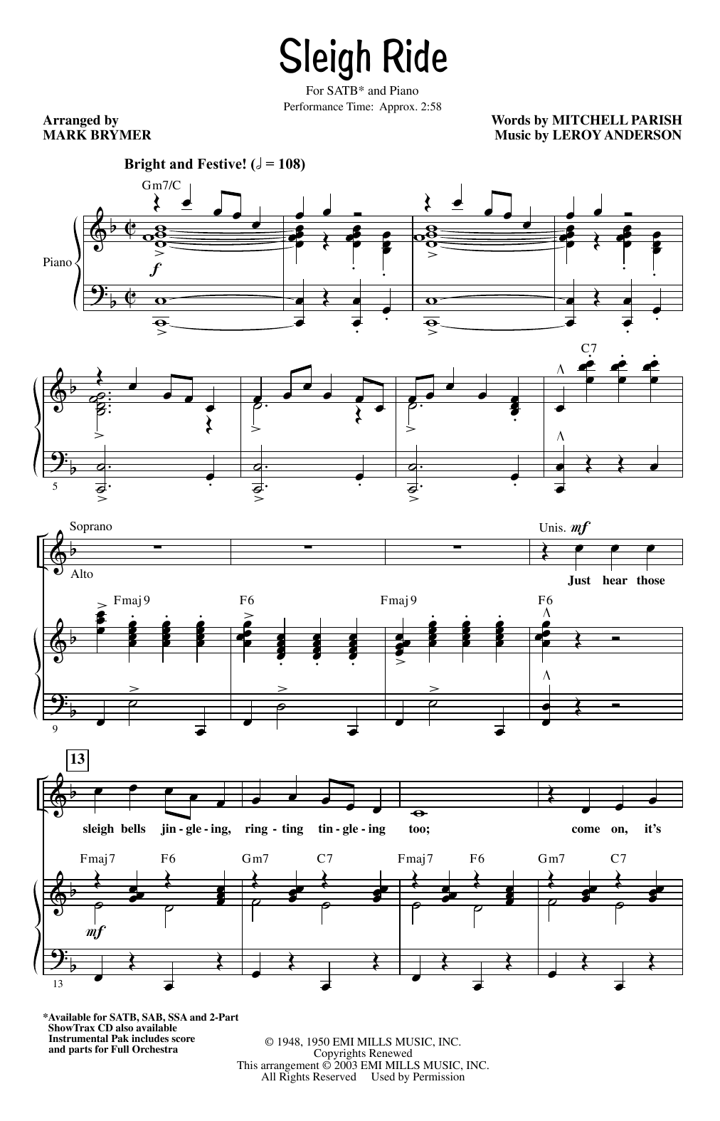Leroy Anderson Sleigh Ride (arr. Mark Brymer) sheet music notes and chords