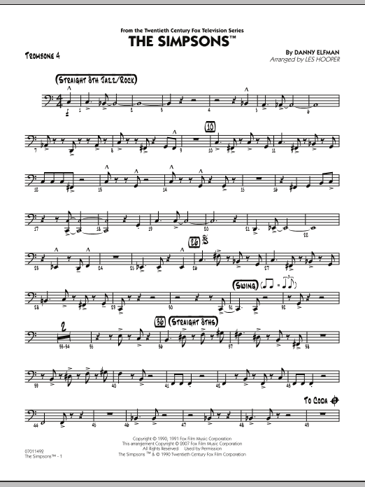 Les Hooper The Simpsons - Trombone 4 sheet music notes and chords. Download Printable PDF.