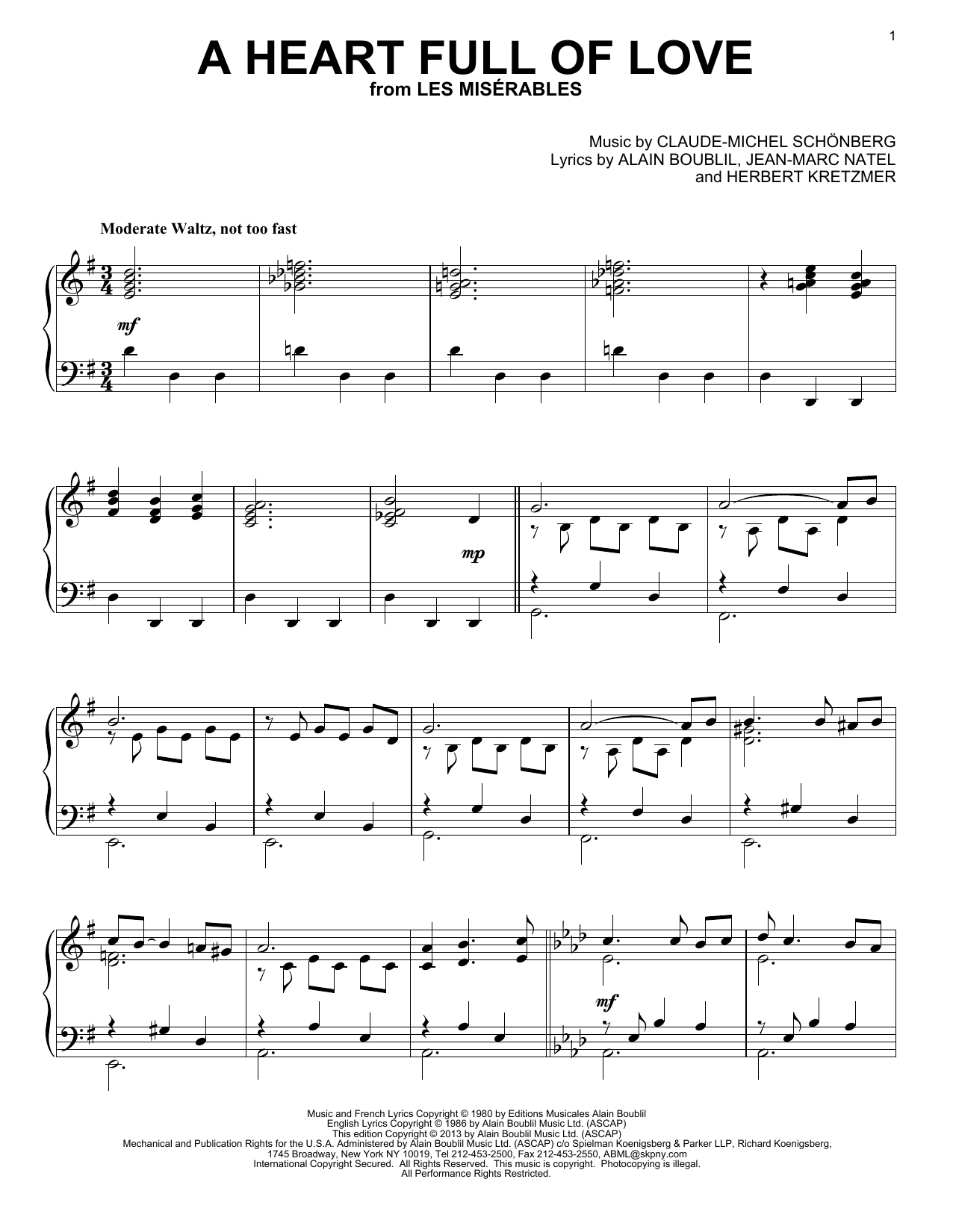 Les Miserables (Musical) A Heart Full Of Love sheet music notes and chords. Download Printable PDF.