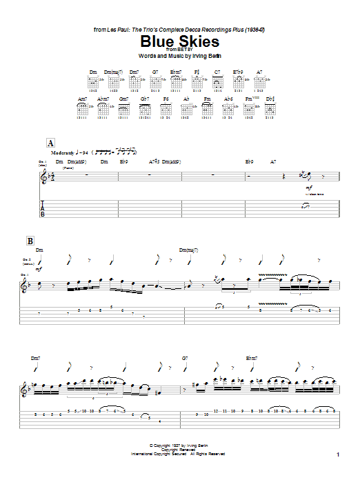 Les Paul Blue Skies sheet music notes and chords
