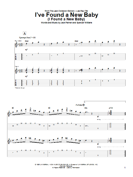 Les Paul I've Found A New Baby (I Found A New Baby) sheet music notes and chords. Download Printable PDF.